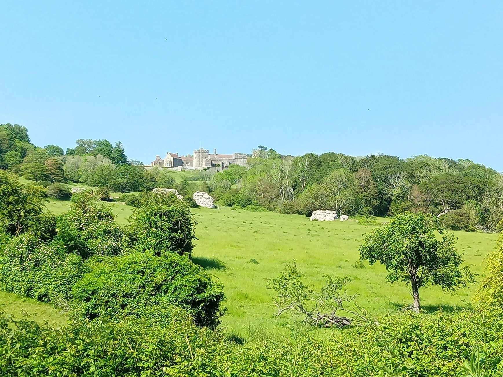 An image of beautiful, green, tree speckled hills with the fragmented ruins of a Roman Fort nestled in the green. On top of the hill sits a large building that looks like a castle.